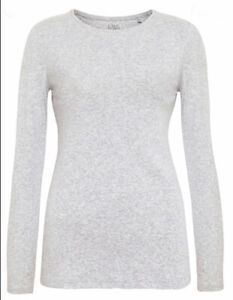 M&S COLLECTION GREY MARL or WHITE PURE COTTON REGULAR FIT LONG SLEEVE T-SHIRT