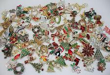 Vintage Jewelry Pin Brooch Christmas Holiday Winter Santa Tree Poinsettia