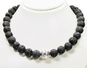 Schöne Stilvolle Halskette aus Edelsteinen Lava in Kugelform