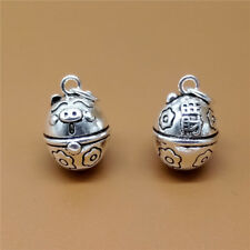 Sterling Silver Pig Jingle Bell Charm Pendant for Bracelet Necklace