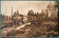 Logging Train on the way to California lumber mill    antique postcard