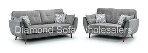 Sofa - Zinc - Modern Style 3 Seter +2 Seater - Fabric Grey - Wooden Legs