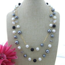 S121806 24''-27'' 2Stands Round Shell Pearl Crystal  Onyx Necklace