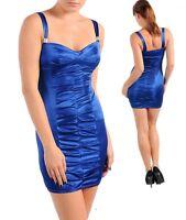 vestito donna mini abito corto donna love blu elettrico drappeggiato tg. s,m l