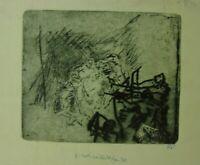 """Rudolf Rothe: """"Figurenvariation """" Radierung, Widmung, Werknummer 193"""