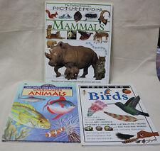 Lot (3) Mammals Birds Underwater Fish Science Animal Fact Book Homeschool Study