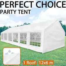 vidaXL White Party Tent 12x6m Outdoor Canopy BBQ Wedding Festival Picnic Tent