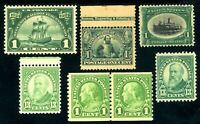 USAstamps Unused FVF US Early Green Lot Scott 294/694 OG Mint