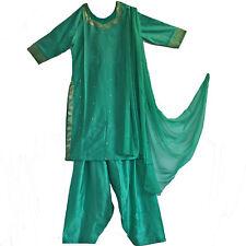 Salwar Kameez Kleid Hose Schal  36 38 M Bollywood Sari Kostüm Indien Türkis Grün