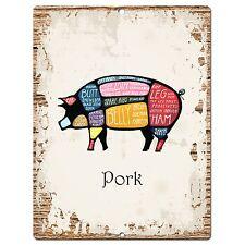 PP0873 PORK Meat cuts Parking Plate Chic Sign Home Restaurant Kitchen Decor