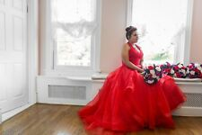 Red Wedding Dress floor length small train bustle US size 12-14 with corset back