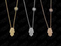 925 Sterling Silver Gold Rose Hamsa Hand Fatima Evil Eye Mati Nazar CZ Necklace