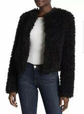 UGG WOMEN LORRENA BLACK FLUFFLY FAUX FUR JACKET COAT Size XS