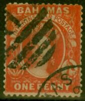 Bahamas 1877 1d Scarlet-Vermilion (Aniline) SG34 Fine Used Forged Cancel
