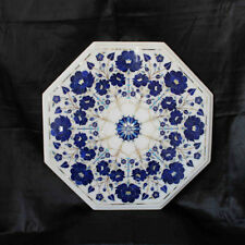 """18"""" Marble Table Top Lapis Inlay Handmade Home Decor And Garden"""