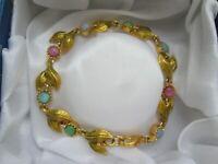 Vintage Joan Rivers Gold Pink Green Blue Glass Cabochon Flower Link Bracelet