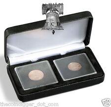 2x Peace Silver Dollar Coin Capsule Display Box BLACK Quadrum Lighthouse NOBILE
