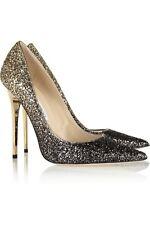 d9002edb9dc Jimmy Choo  anouk  Gold Black Glitter Court Heels Pumps Stiletto Size Uk ...