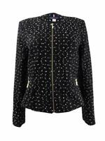 Tommy Hilfiger Women's Tweed Peplum Jacket Black/Ivory 6