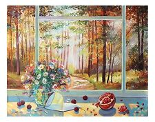 """Alexander Borewko Original Oil on Canvas Window View Floral Art """"Into the Woods"""""""