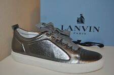 NIB $645+ LANVIN Cap Toe Low Top Lace Up Sneaker Shoe Gunmetal Metallic 38 - 8