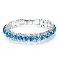 Rhinestone Bracelet Fashion Women Roman Style Chain Zircon Crystal Bangle G