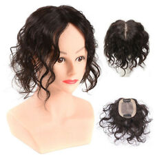 Hand Made Mono Curly Wave 100% Human Hair Clip in Toppers Wiglet Cover Thin Hair