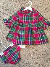 NWT POLO RALPH LAUREN GIRLS COTTON PLAID BABYDOLL 2 PCS SET DRESS,SIZE 12 MONTHS