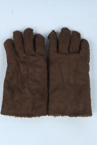 Suede Leather Gloves Vintage Womens Thermal Fur Lining Size L Dark Brown - G514