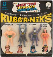 JUSTICE LEAGUE OF AMERICA RUBB'R-NIKS CARDED FIGURE SET Aquaman, Superman, etc