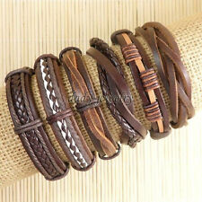 6pcs Wholesale Handmade genuine charm leather wrap bracelets for men -D64