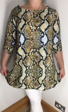 NEW Snake Print Tunic Top Gold One Size Fits 14-16 Necklace Soft Long Crystals