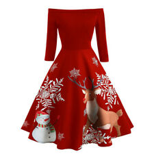 Christmas Women Girl Causal Off Shoulder Half Sleeve Vintage Evening Party Dress
