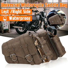 2x Right & Left Motorcycle Side SaddleBag Luggage + Bottle Holder PU leather