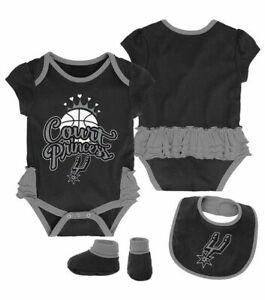 San Antonio Spurs NBA / Bodysuit Bib Booties / Baby Girl Court Princess / 3-6 M
