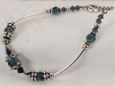 Sterling Silver 925 Blue Aurora B facet Swarovski Crystals heart Toggle Bracelet
