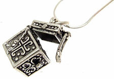 925 silver pendant Box Charm opening lid and detailed sides