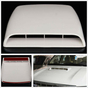 White Universal Car SUV Decorative Air Flow Intake Hood Scoop Vent Bonnet Cover