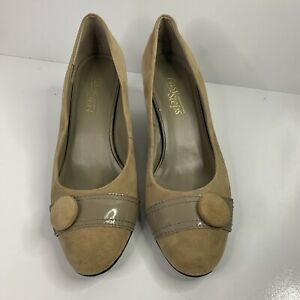 EASY STEP Women's Suede Wedges OTTO Shoes Size 7C - Beige