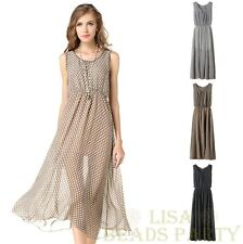 Women's Sleeveless Chiffon Polka Dot Sexy Casual Sundress Dress S~XXXL