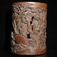 Exquisite carved pine mountain statue natural bamboo Hollow out Pen Brush pot