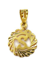 """21K Yellow Gold Initial """" S """" Charm Necklace Pendant ~ 1.0g"""
