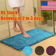 Non Slip Soft Microfiber Shaggy Absorbent Bath Mat Bathroom Shower Rugs Carpet~