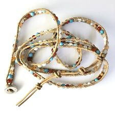 Light Brown Leather Wrap Bracelet With Multi Color Magnesite And Crystal.
