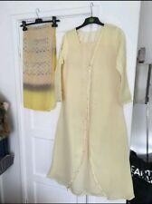 Women's Pastello Giallo Lungo Abaya Maxi Abito Taglia Small