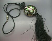 Vintage BLACK SILK CORD NECKLACE Enamel Cloisonne TASSEL PENDANT Pink Flowers
