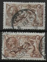 SG 413a & 450.  1918 & 1934 2s6d. Seahorses. Good/Fine Used.  Ref.08108