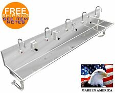 """Hand Sink Stainless Steel 5 Users 120""""=10'-0"""" ; / (2) 2"""" Npt Drain Made In America"""