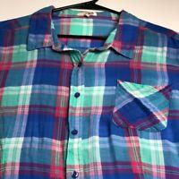 Live 4 Truth Women's Long Sleeve Button Up Shirt 3X Plus Multicolor Plaid Pocket