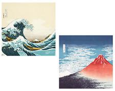 SET of 2 PCS. Japanese Cotton Furoshiki Wrapping Cloth Nami Wave & Fuji Mountain